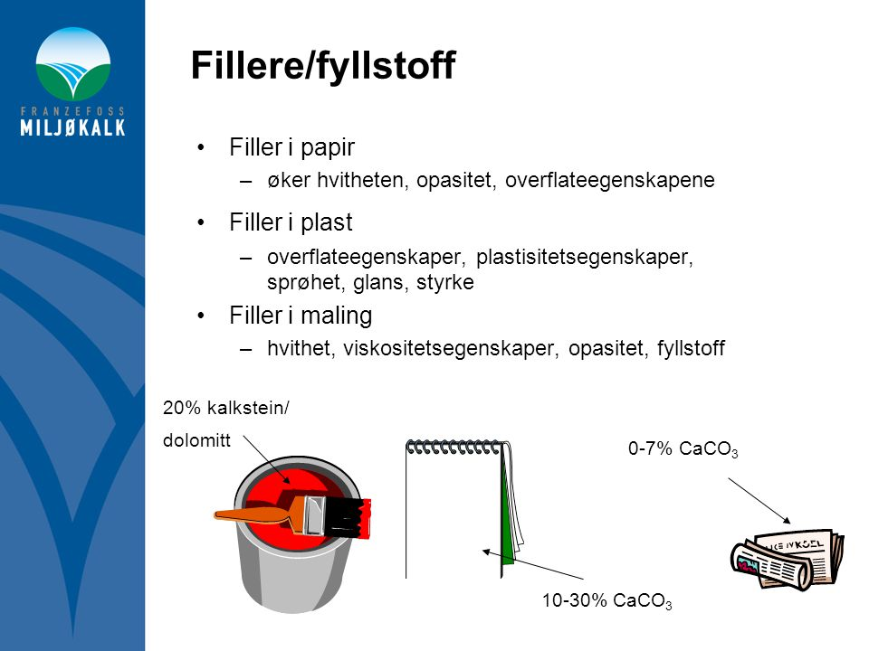 Fillere/fyllstoff •Filler i papir –øker hvitheten, opasitet, overflateegenskapene •Filler i plast –overflateegenskaper, plastisitetsegenskaper, sprøhe