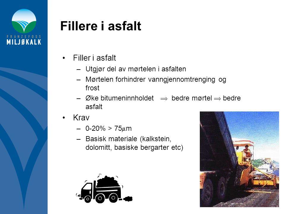 Fillere i asfalt •Filler i asfalt –Utgjør del av mørtelen i asfalten –Mørtelen forhindrer vanngjennomtrenging og frost –Øke bitumeninnholdet  bedre m