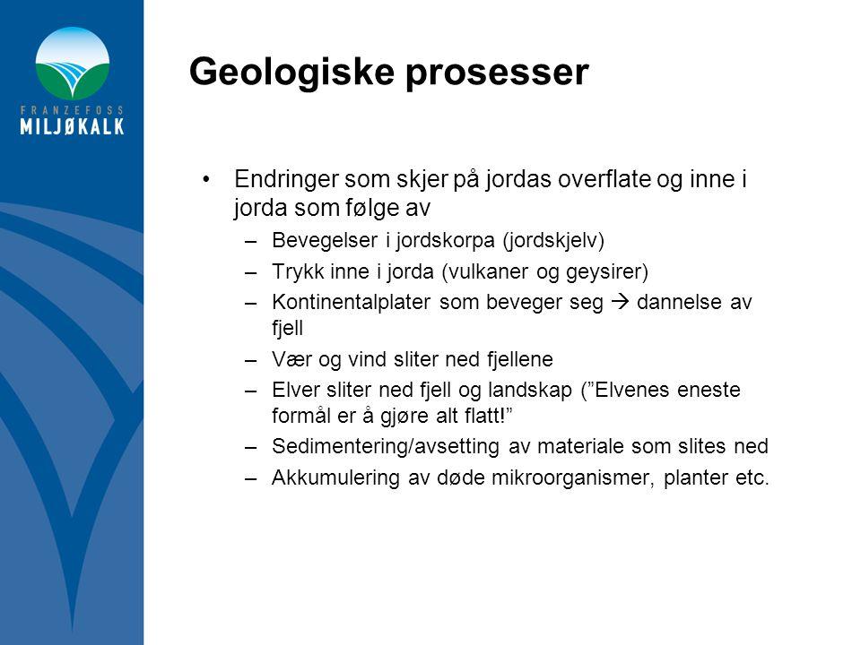 Geologiske prosesser •Endringer som skjer på jordas overflate og inne i jorda som følge av –Bevegelser i jordskorpa (jordskjelv) –Trykk inne i jorda (