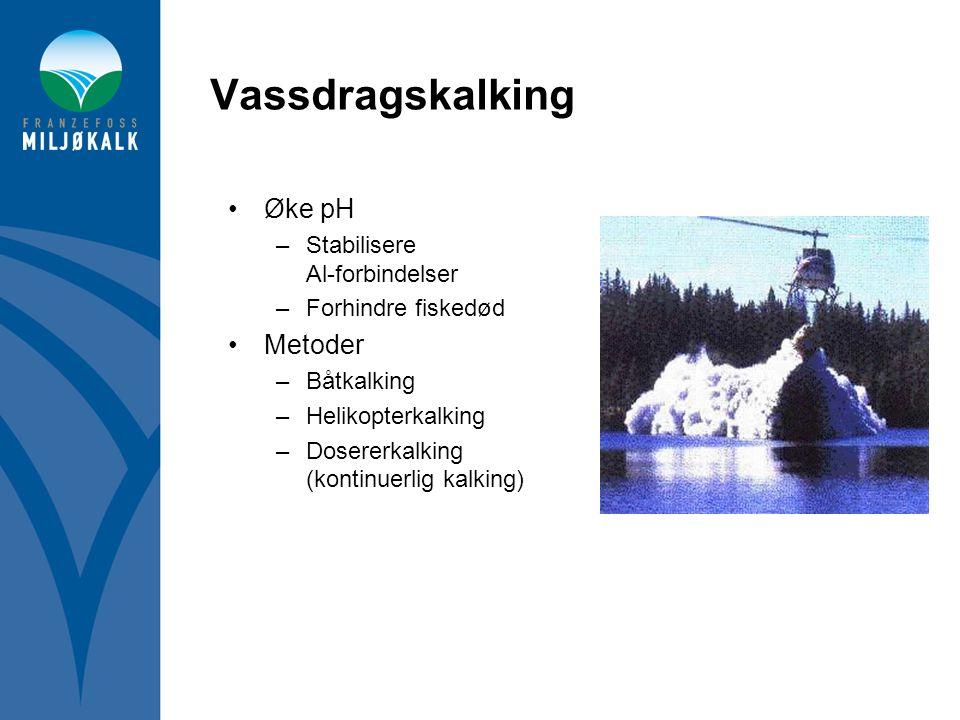 Vassdragskalking •Øke pH –Stabilisere Al-forbindelser –Forhindre fiskedød •Metoder –Båtkalking –Helikopterkalking –Dosererkalking (kontinuerlig kalkin