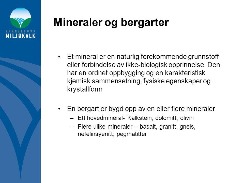 Mineraler og bergarter •Et mineral er en naturlig forekommende grunnstoff eller forbindelse av ikke-biologisk opprinnelse. Den har en ordnet oppbyggin