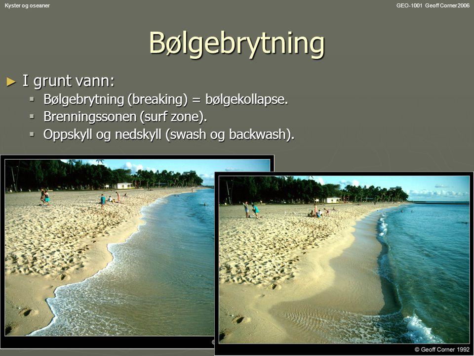 GEO-1001 Geoff Corner 2006Kyster og oseanerBølgebrytning ► I grunt vann:  Bølgebrytning (breaking) = bølgekollapse.  Brenningssonen (surf zone).  O