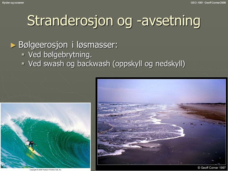 GEO-1001 Geoff Corner 2006Kyster og oseaner Stranderosjon og -avsetning ► Bølgeerosjon i løsmasser:  Ved bølgebrytning.  Ved swash og backwash (opps