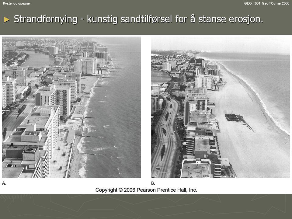 GEO-1001 Geoff Corner 2006Kyster og oseaner ► Strandfornying - kunstig sandtilførsel for å stanse erosjon.