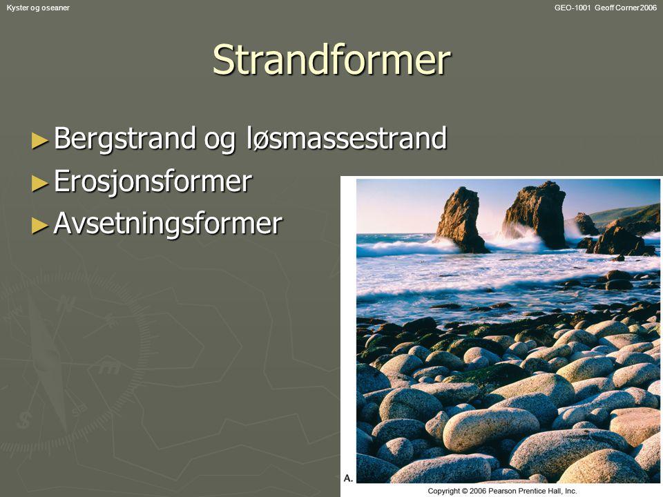 GEO-1001 Geoff Corner 2006Kyster og oseanerStrandformer ► Bergstrand og løsmassestrand ► Erosjonsformer ► Avsetningsformer