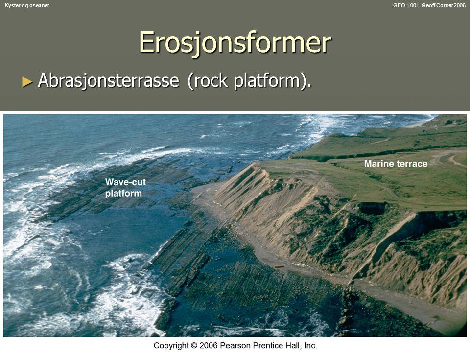 GEO-1001 Geoff Corner 2006Kyster og oseanerErosjonsformer ► Abrasjonsterrasse (rock platform).