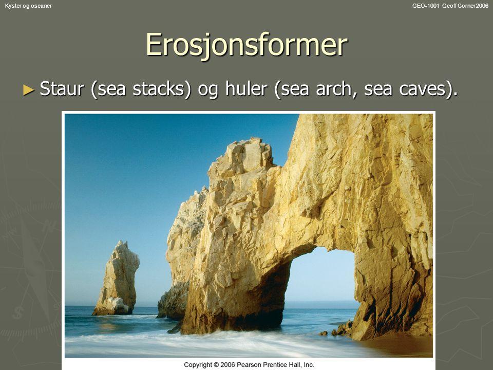 GEO-1001 Geoff Corner 2006Kyster og oseanerErosjonsformer ► Staur (sea stacks) og huler (sea arch, sea caves).