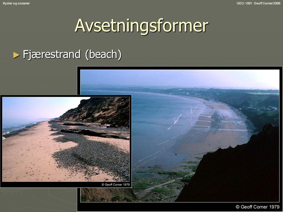 GEO-1001 Geoff Corner 2006Kyster og oseanerAvsetningsformer ► Fjærestrand (beach)