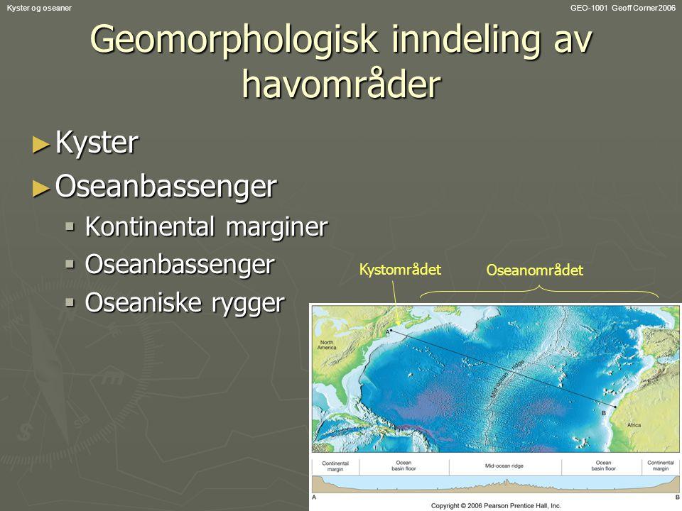 GEO-1001 Geoff Corner 2006Kyster og oseaner Geomorphologisk inndeling av havområder ► Kyster ► Oseanbassenger  Kontinental marginer  Oseanbassenger