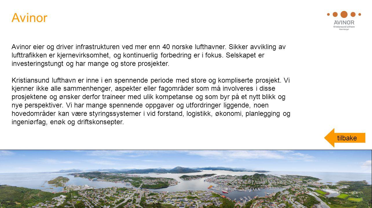 Avinor eier og driver infrastrukturen ved mer enn 40 norske lufthavner. Sikker avvikling av lufttrafikken er kjernevirksomhet, og kontinuerlig forbedr