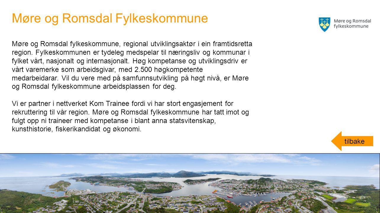 Møre og Romsdal fylkeskommune, regional utviklingsaktør i ein framtidsretta region. Fylkeskommunen er tydeleg medspelar til næringsliv og kommunar i f