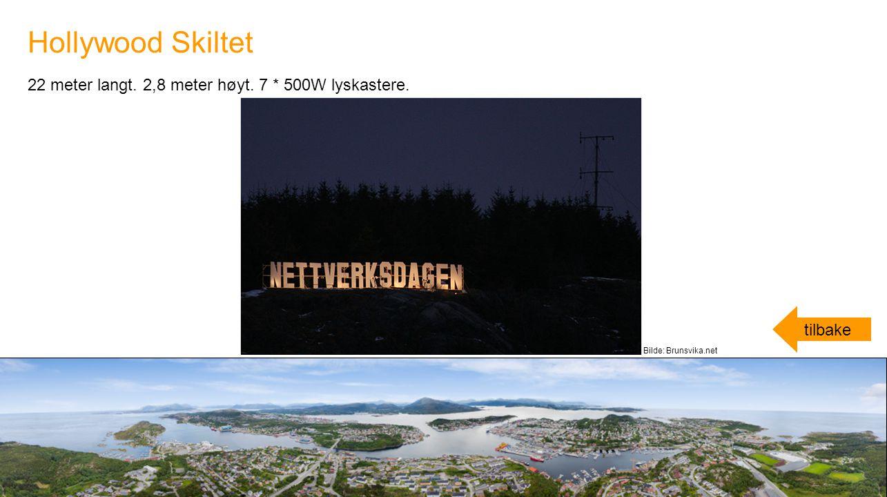 22 meter langt. 2,8 meter høyt. 7 * 500W lyskastere. Hollywood Skiltet tilbake Bilde: Brunsvika.net