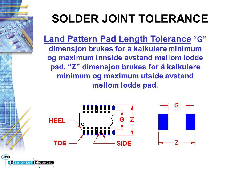 """Land Pattern Pad Length Tolerance """"G"""" dimensjon brukes for å kalkulere minimum og maximum innside avstand mellom lodde pad. """"Z"""" dimensjon brukes for å"""