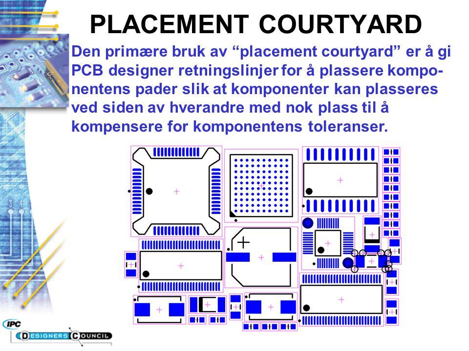 """PLACEMENT COURTYARD Den primære bruk av """"placement courtyard"""" er å gi PCB designer retningslinjer for å plassere kompo- nentens pader slik at komponen"""