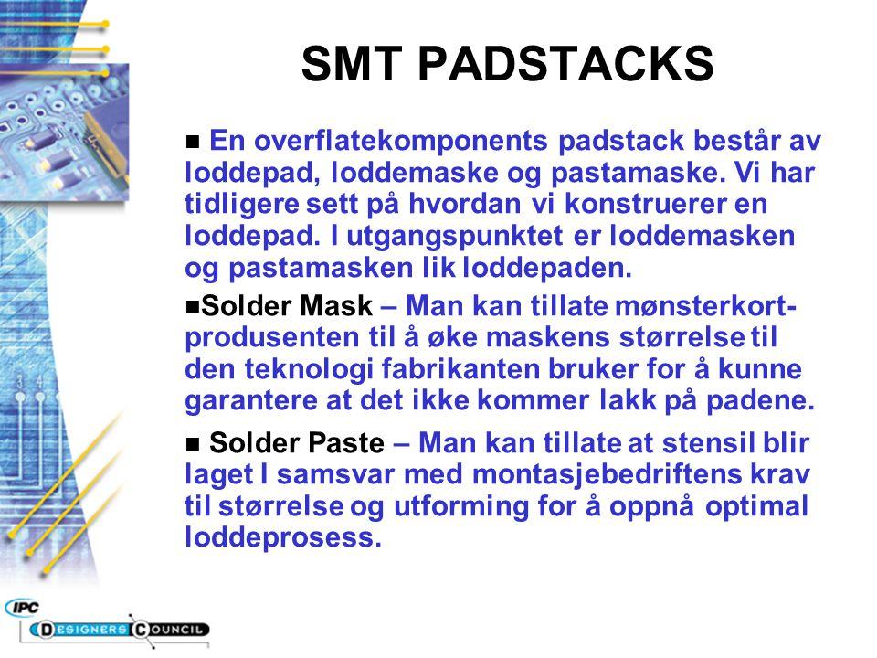 SMT PADSTACKS n En overflatekomponents padstack består av loddepad, loddemaske og pastamaske. Vi har tidligere sett på hvordan vi konstruerer en lodde