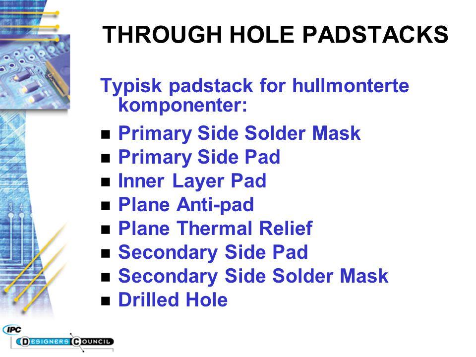 Typisk padstack for hullmonterte komponenter: n Primary Side Solder Mask n Primary Side Pad n Inner Layer Pad n Plane Anti-pad n Plane Thermal Relief
