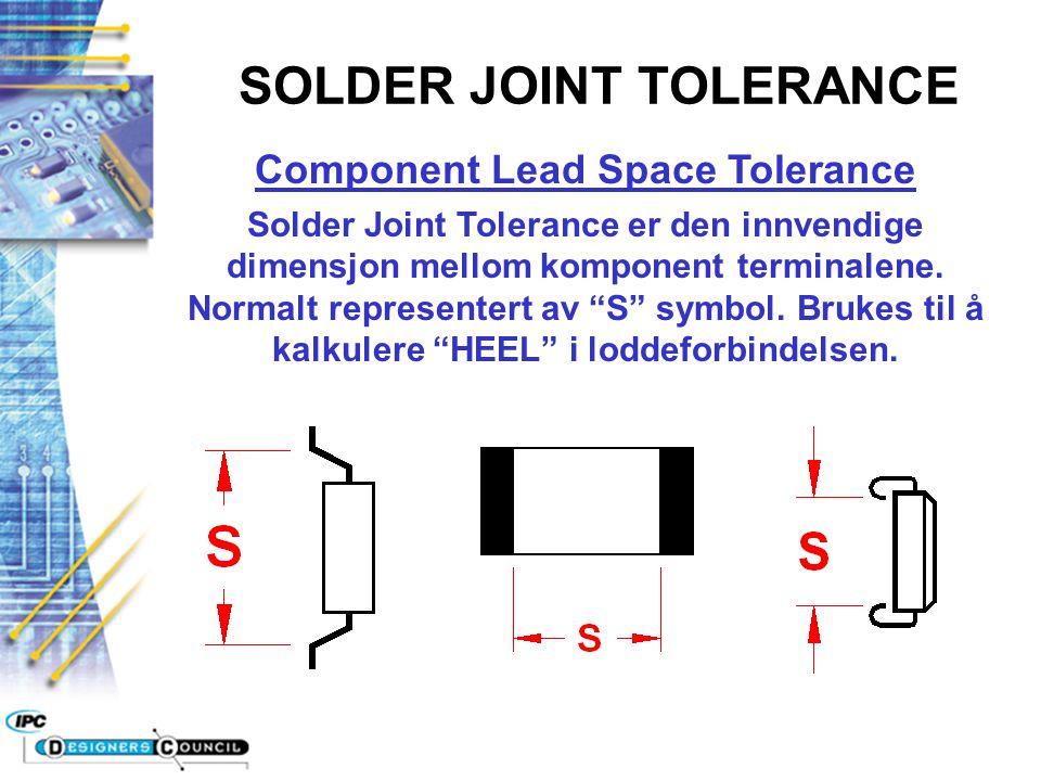 """Component Lead Space Tolerance Solder Joint Tolerance er den innvendige dimensjon mellom komponent terminalene. Normalt representert av """"S"""" symbol. Br"""