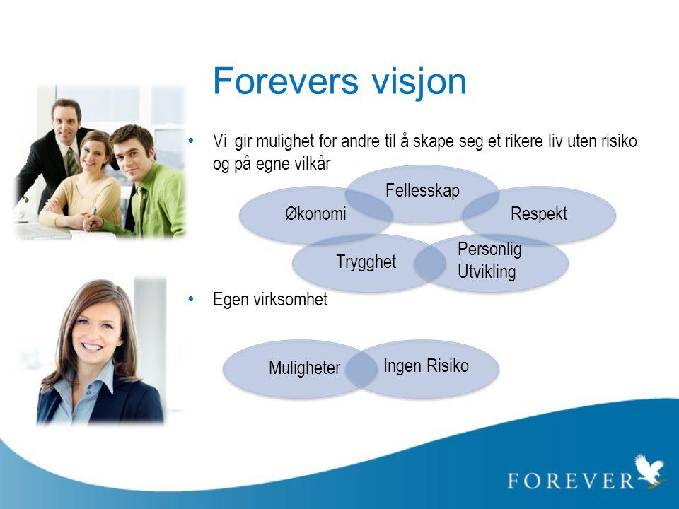 Forevers visjon • Vi gir mulighet for andre til å skape seg et rikere liv uten risiko og på egne vilkår • Egen virksomhet Økonomi Trygghet Fellesskap