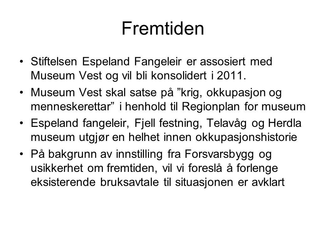 """Fremtiden •Stiftelsen Espeland Fangeleir er assosiert med Museum Vest og vil bli konsolidert i 2011. •Museum Vest skal satse på """"krig, okkupasjon og m"""