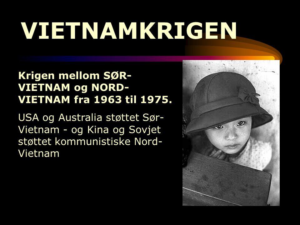 VIETNAMKRIGEN Krigen mellom SØR- VIETNAM og NORD- VIETNAM fra 1963 til 1975. USA og Australia støttet Sør- Vietnam - og Kina og Sovjet støttet kommuni