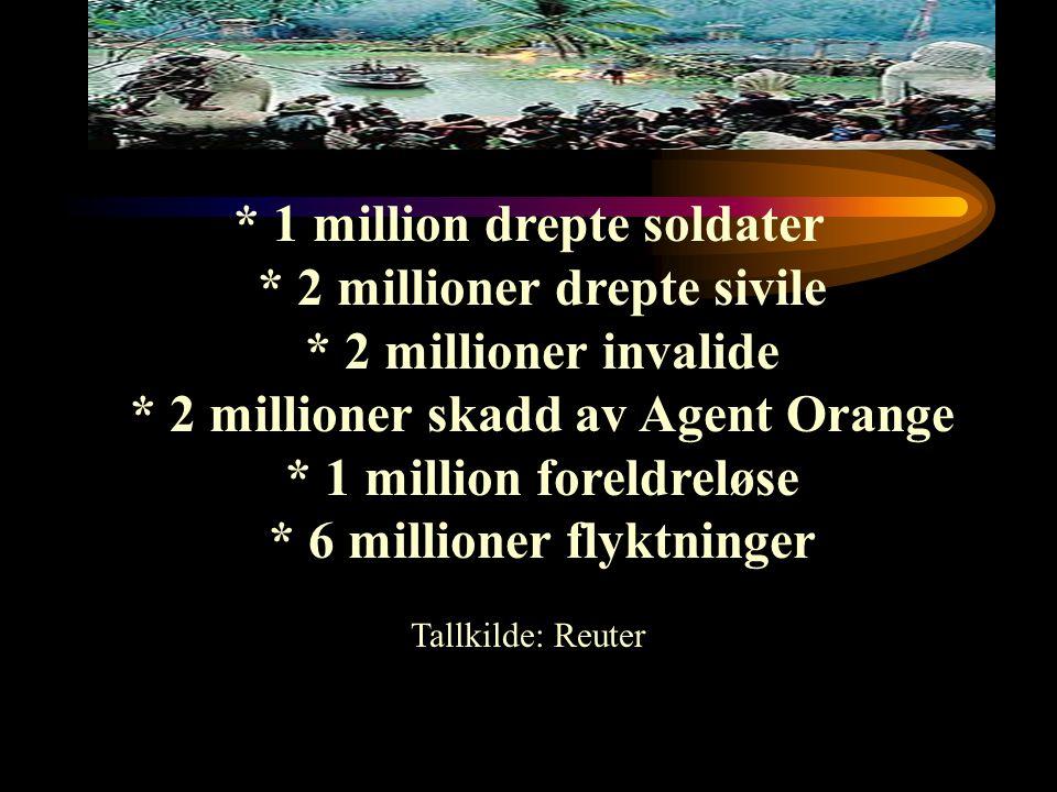 * 1 million drepte soldater * 2 millioner drepte sivile * 2 millioner invalide * 2 millioner skadd av Agent Orange * 1 million foreldreløse * 6 millio