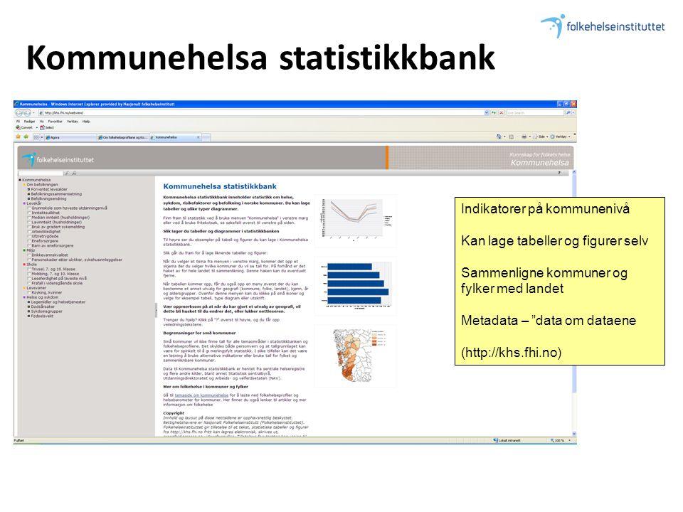 """Kommunehelsa statistikkbank Indikatorer på kommunenivå Kan lage tabeller og figurer selv Sammenligne kommuner og fylker med landet Metadata – """"data om"""