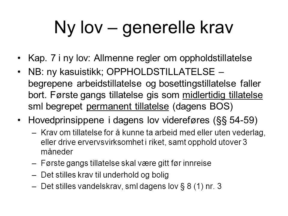 Ny lov – generelle krav •Kap.