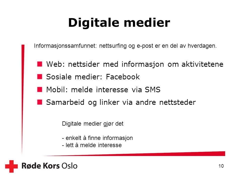 Digitale medier 10 Informasjonssamfunnet: nettsurfing og e-post er en del av hverdagen. Web: nettsider med informasjon om aktivitetene Sosiale medier: