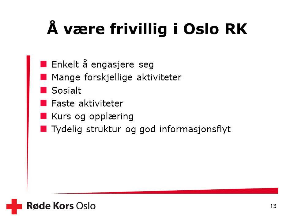 13 Å være frivillig i Oslo RK Enkelt å engasjere seg Mange forskjellige aktiviteter Sosialt Faste aktiviteter Kurs og opplæring Tydelig struktur og go