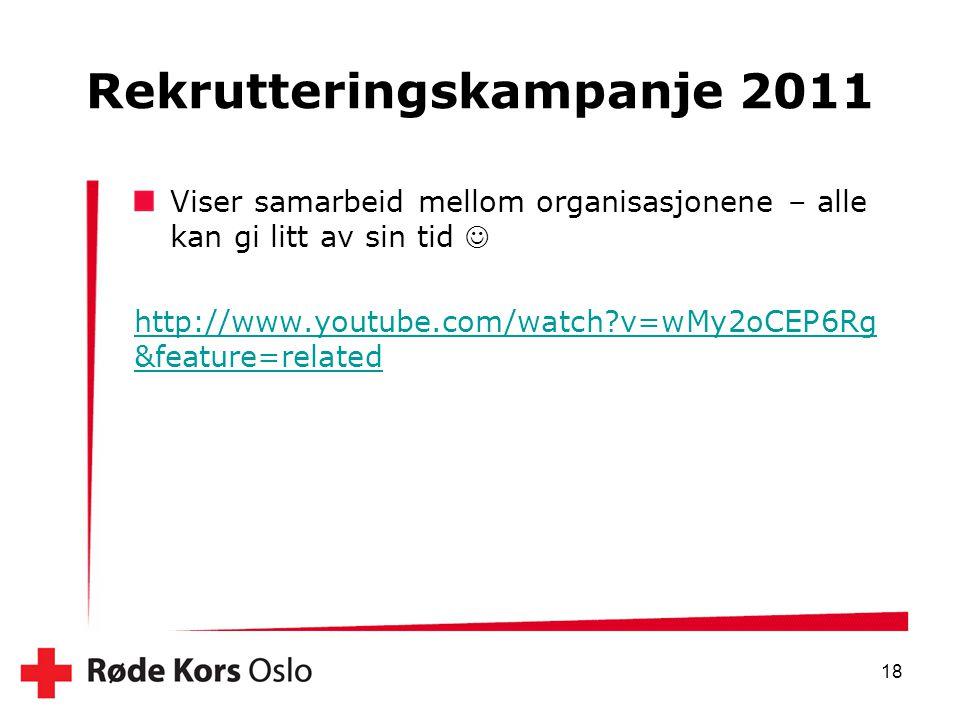 Rekrutteringskampanje 2011 Viser samarbeid mellom organisasjonene – alle kan gi litt av sin tid  http://www.youtube.com/watch?v=wMy2oCEP6Rg &feature=