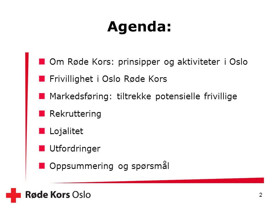 Agenda: Om Røde Kors: prinsipper og aktiviteter i Oslo Frivillighet i Oslo Røde Kors Markedsføring: tiltrekke potensielle frivillige Rekruttering Loja