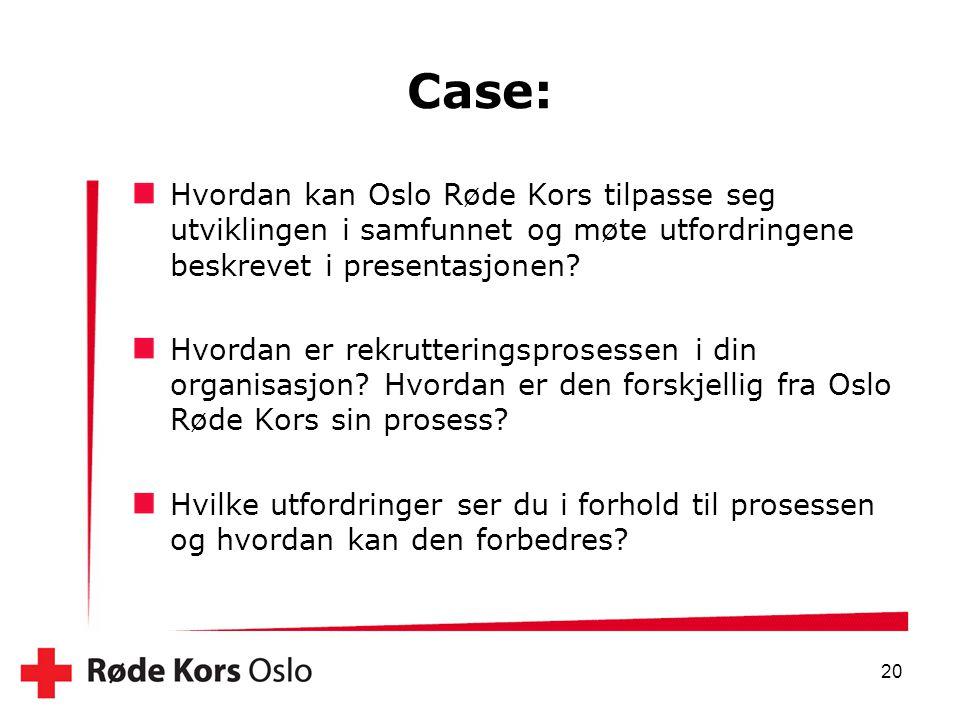 Case: Hvordan kan Oslo Røde Kors tilpasse seg utviklingen i samfunnet og møte utfordringene beskrevet i presentasjonen? Hvordan er rekrutteringsproses