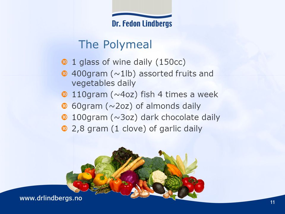 www.drlindbergs.no 11 The Polymeal  1 glass of wine daily (150cc)  400gram (~1lb) assorted fruits and vegetables daily  110gram (~4oz) fish 4 times a week  60gram (~2oz) of almonds daily  100gram (~3oz) dark chocolate daily  2,8 gram (1 clove) of garlic daily