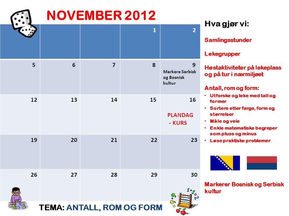 NOVEMBER 2012 TEMA: ANTALL, ROM OG FORM Hva gjør vi: Samlingsstunder Lekegrupper Høstaktiviteter på lekeplass og på tur i nærmiljøet Antall, rom og fo