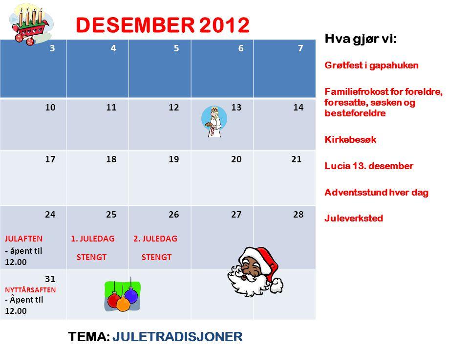DESEMBER 2012 TEMA: JULETRADISJONER Hva gjør vi: Grøtfest i gapahuken Familiefrokost for foreldre, foresatte, søsken og besteforeldre Kirkebesøk Lucia