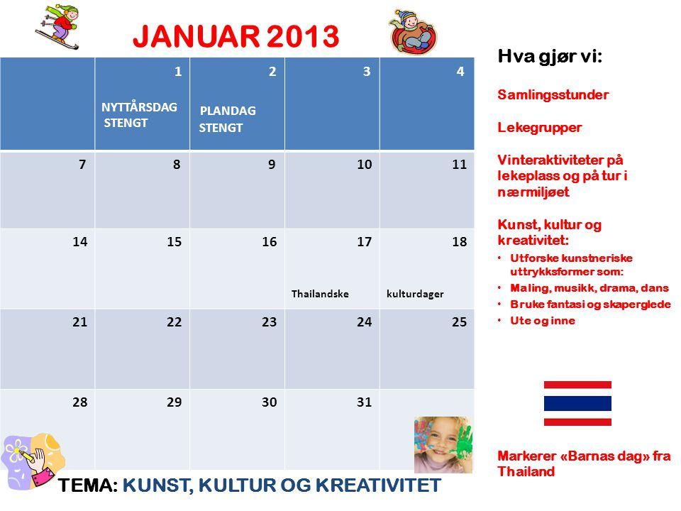 JANUAR 2013 TEMA: KUNST, KULTUR OG KREATIVITET Hva gjør vi: Samlingsstunder Lekegrupper Vinteraktiviteter på lekeplass og på tur i nærmiljøet Kunst, k