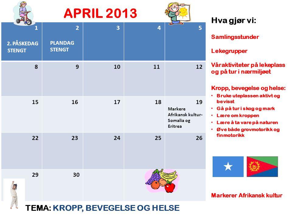 APRIL 2013 TEMA: KROPP, BEVEGELSE OG HELSE Hva gjør vi: Samlingsstunder Lekegrupper Våraktiviteter på lekeplass og på tur i nærmiljøet Kropp, bevegels