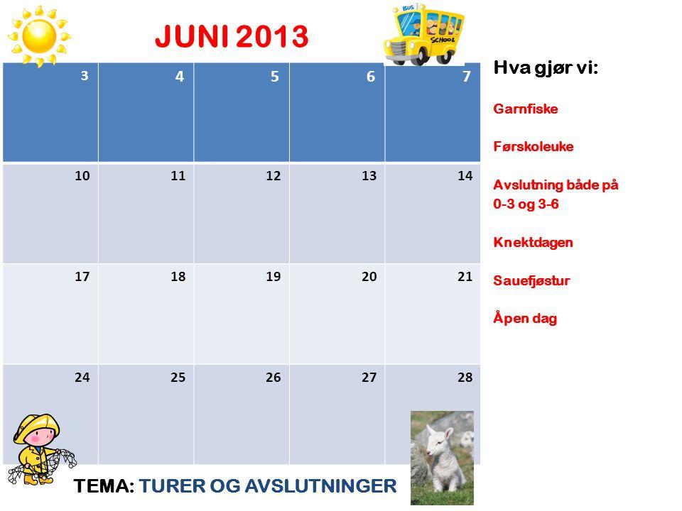 JUNI 2013 TEMA: TURER OG AVSLUTNINGER Hva gjør vi: Garnfiske Førskoleuke Avslutning både på 0-3 og 3-6 Knektdagen Sauefjøstur Åpen dag 3 4 5 6 7 10 11