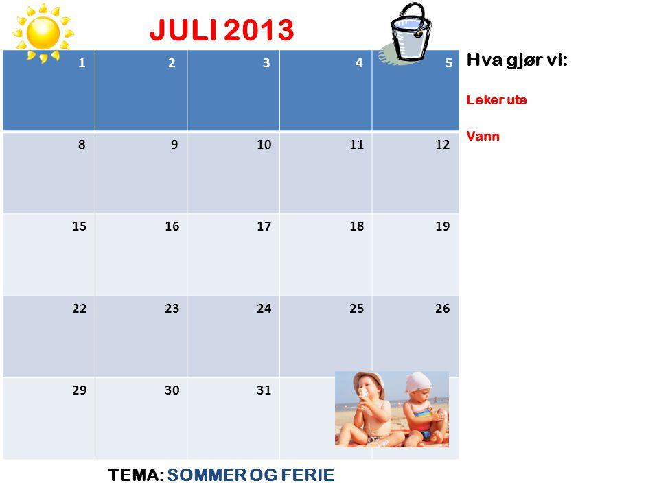 JULI 2013 TEMA: SOMMER OG FERIE Hva gjør vi: Leker ute Vann 1 2 3 4 5 8 9 10 11 12 15 16 17 18 19 22 23 24 25 26 29 30 31