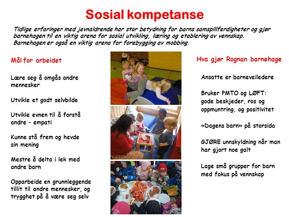 Sosial kompetanse Mål for arbeidet Lære seg å omgås andre mennesker Utvikle et godt selvbilde Utvikle evnen til å forstå andre – empati Kunne stå frem