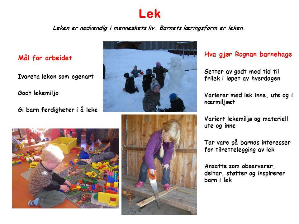 Lek Mål for arbeidet Ivareta leken som egenart Godt lekemiljø Gi barn ferdigheter i å leke Leken er nødvendig i menneskets liv. Barnets læringsform er