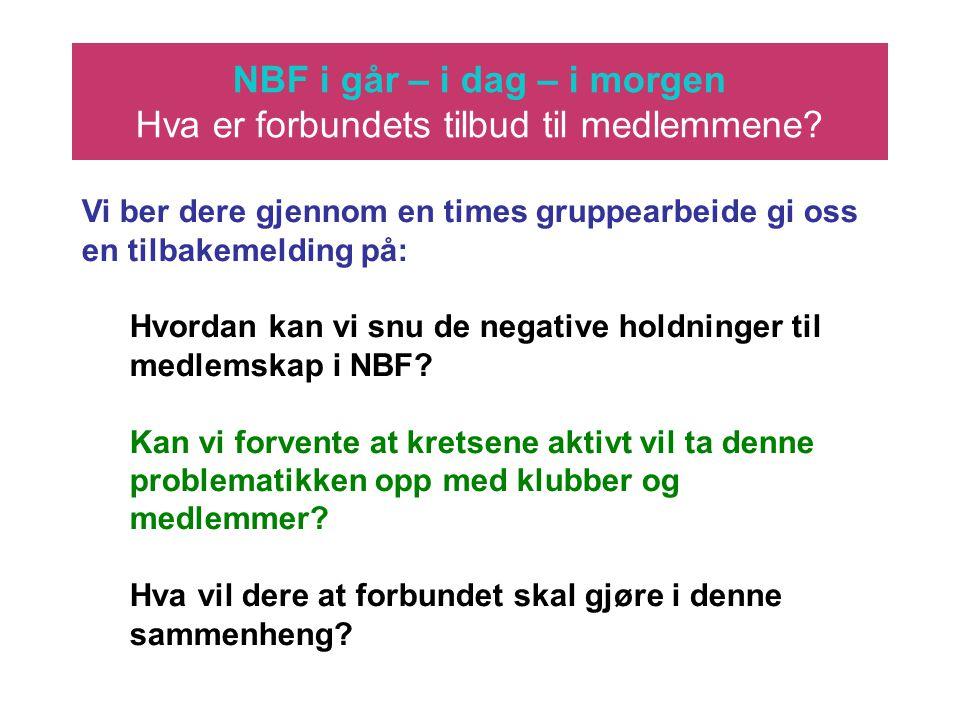 NBF i går – i dag – i morgen Hva er forbundets tilbud til medlemmene? Vi ber dere gjennom en times gruppearbeide gi oss en tilbakemelding på: Hvordan