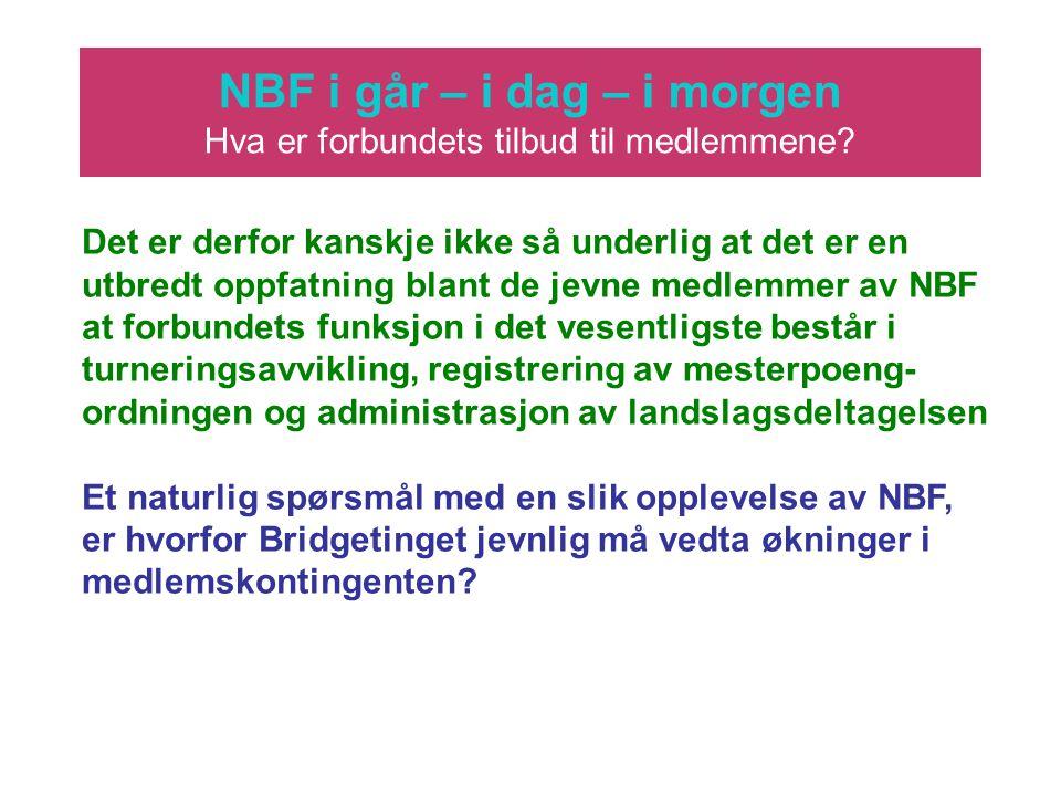 NBF i går – i dag – i morgen Hva er forbundets tilbud til medlemmene? Det er derfor kanskje ikke så underlig at det er en utbredt oppfatning blant de