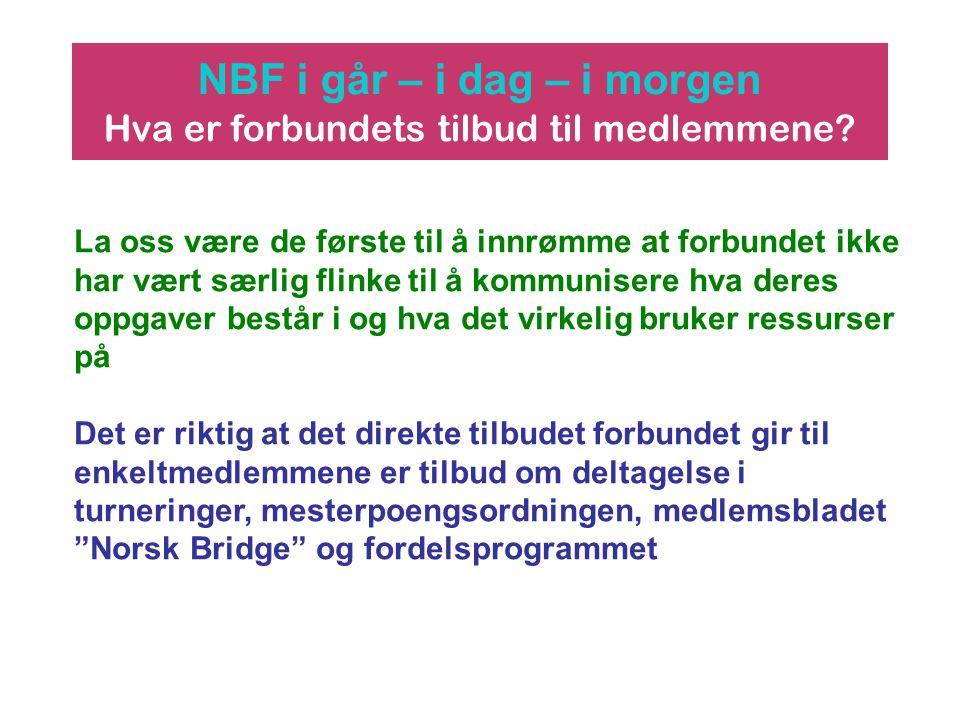 NBF i går – i dag – i morgen Hva er forbundets tilbud til medlemmene? La oss være de første til å innrømme at forbundet ikke har vært særlig flinke ti