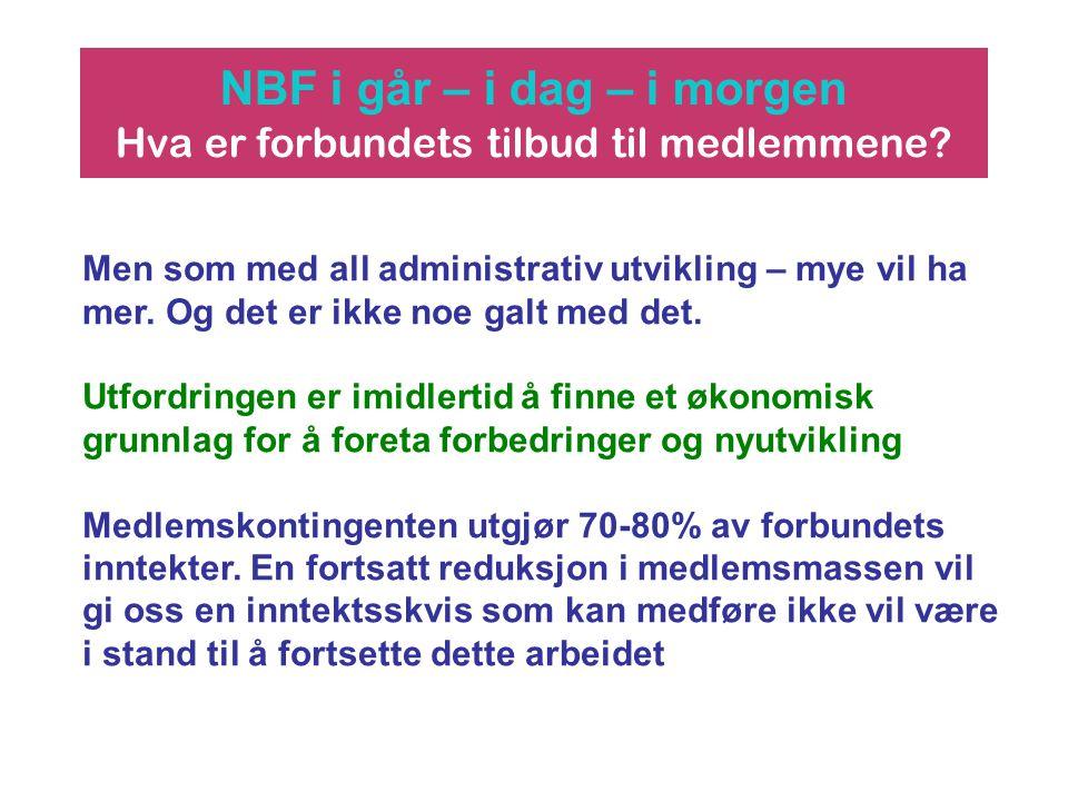 NBF i går – i dag – i morgen Hva er forbundets tilbud til medlemmene? Men som med all administrativ utvikling – mye vil ha mer. Og det er ikke noe gal