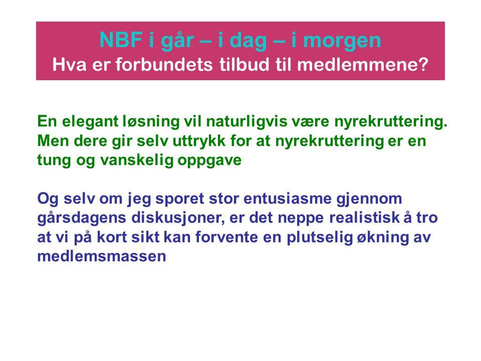 NBF i går – i dag – i morgen Hva er forbundets tilbud til medlemmene? En elegant løsning vil naturligvis være nyrekruttering. Men dere gir selv uttryk