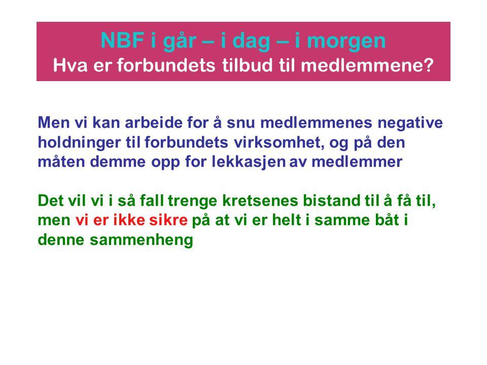 NBF i går – i dag – i morgen Hva er forbundets tilbud til medlemmene? Men vi kan arbeide for å snu medlemmenes negative holdninger til forbundets virk