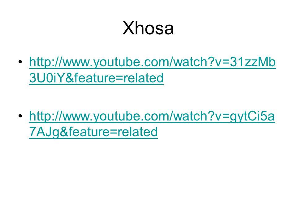 Xhosa •http://www.youtube.com/watch?v=31zzMb 3U0iY&feature=relatedhttp://www.youtube.com/watch?v=31zzMb 3U0iY&feature=related •http://www.youtube.com/