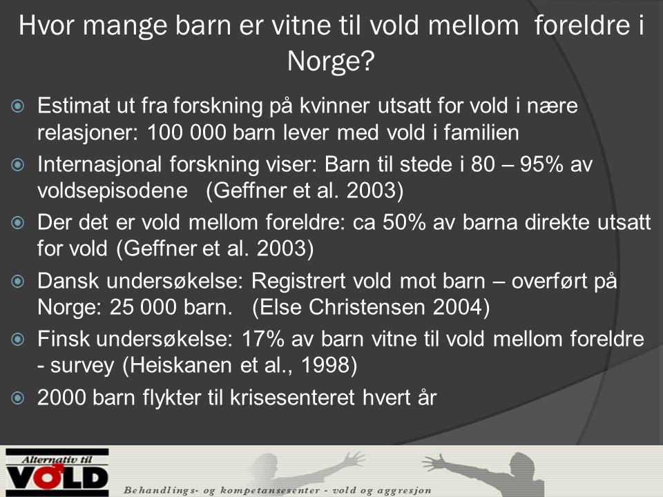 Hvor mange barn er vitne til vold mellom foreldre i Norge.