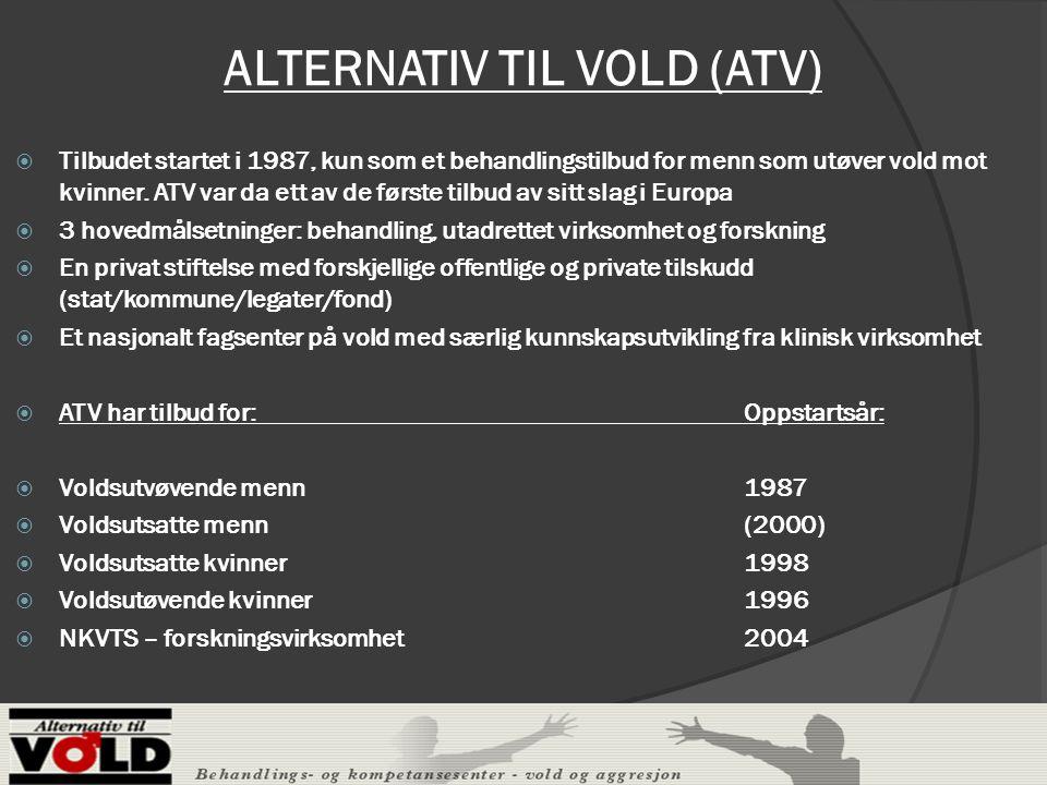 ALTERNATIV TIL VOLD (ATV)  Tilbudet startet i 1987, kun som et behandlingstilbud for menn som utøver vold mot kvinner.